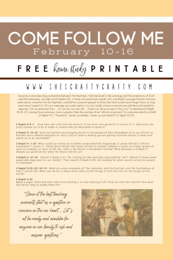 Come Follow Me Free free printable for Home Study     February 10-16     She's Crafty
