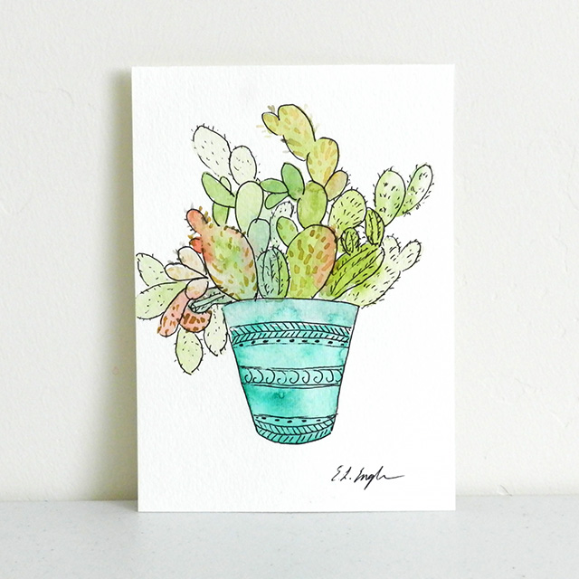 Potted Cactus Illustration by Elise Engh