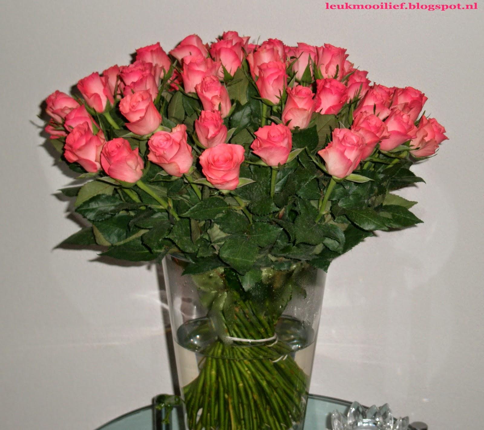 Rozen In Vaas.Leuk Mooi Lief Romantische Rozen