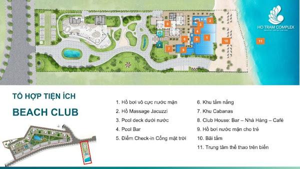tiện ích khu beach club trong dự án Hồ Tràm Complex