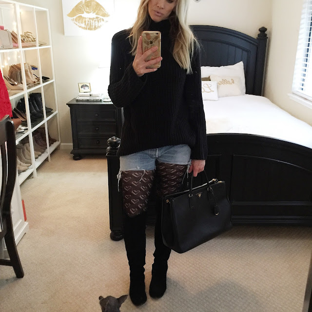 denim shorts black tights over the knee boots sweater dress