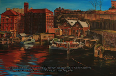 Plein air oil painting of the REVY and Arrow Dive with the Pyrmont Power Station in  Pyrmont painted from Jones Bay Wharf by industrial heritage artist Jane Bennett