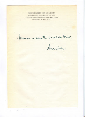 Note to unidentified woman, written by Anita Brookner in 1974