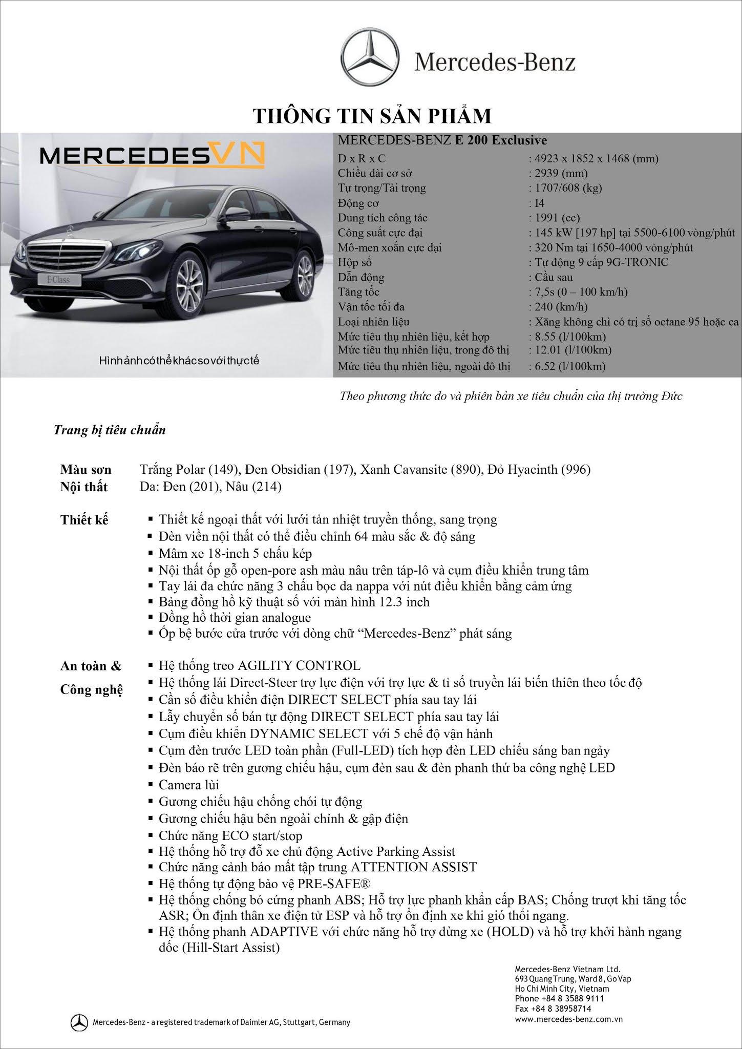 Bảng thông số kỹ thuật Mercedes E200 Exclusive 2021
