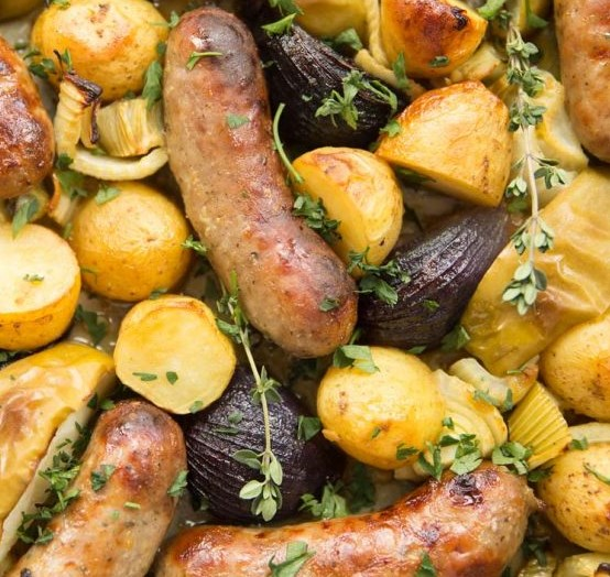 Sticky Honey Mustard Sausage Tray Bake #dinner #onepan