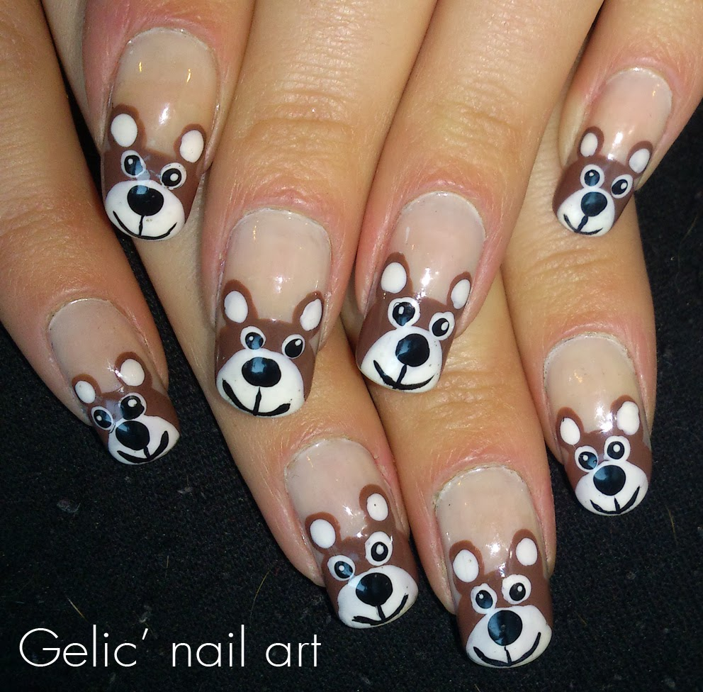 Bear Nail Art: Gelic' Nail Art: Teddy Bear Funky French For Finland