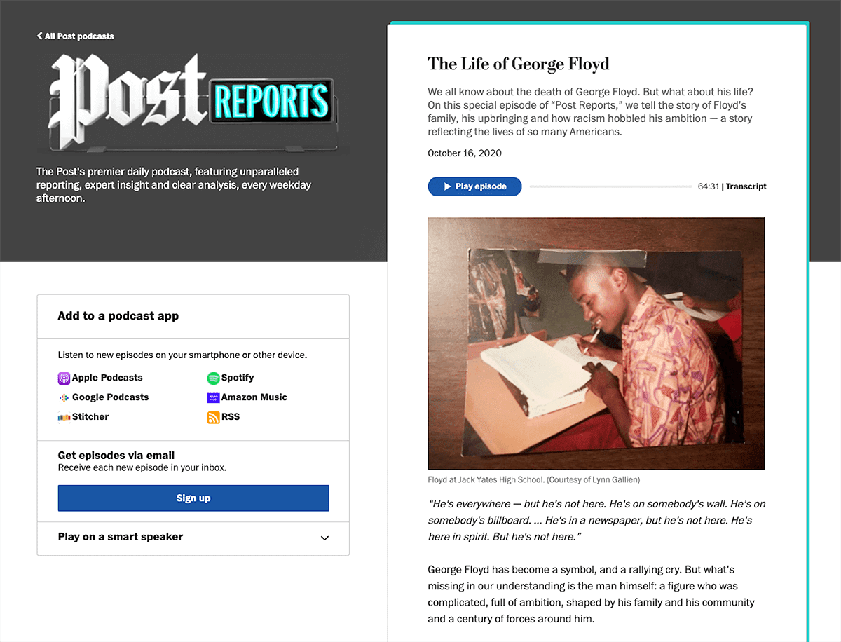 website podcast example: Post Reports