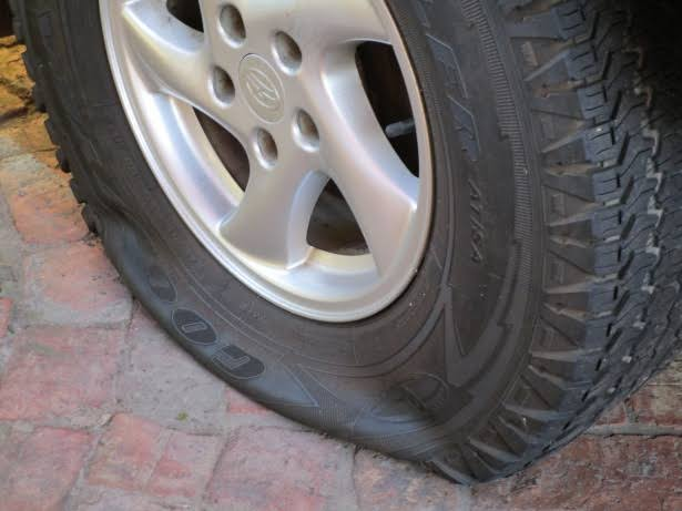 Puncture tyre MRF TVs feat car tyre bike tyre, Tubeless tyres