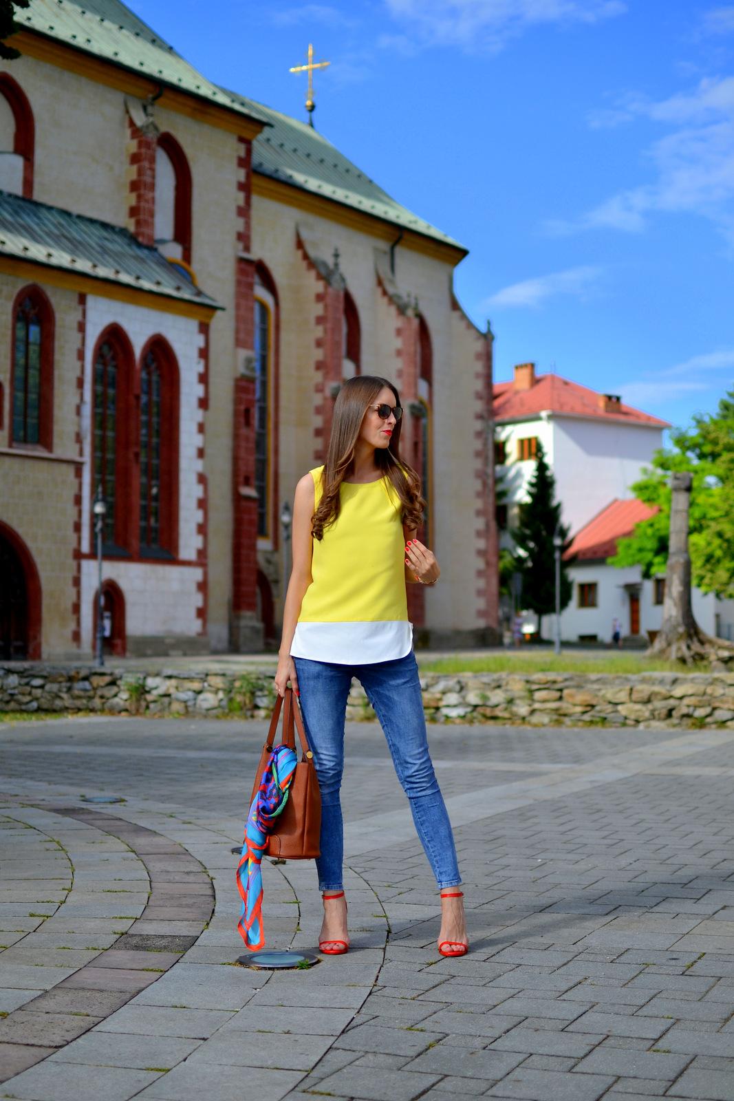 yellow-white refashion blouse