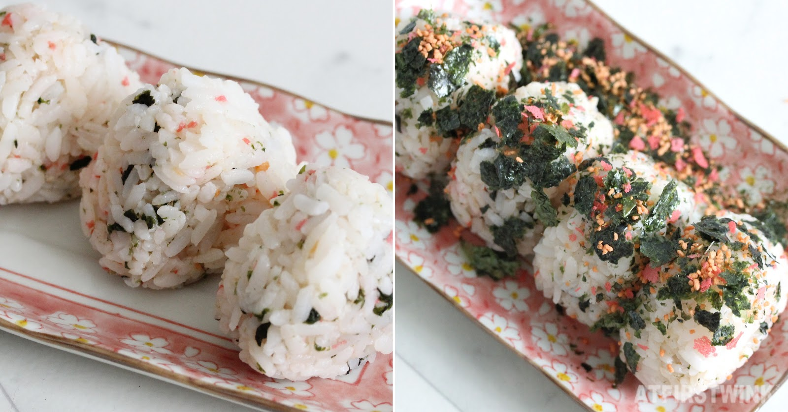 Triangular rice balls with salmon furikake