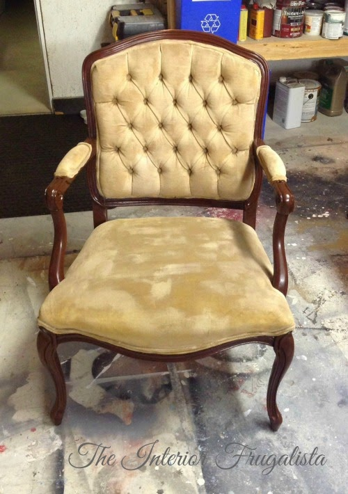 French Provincial Chair Fabric Painted - After One Coat