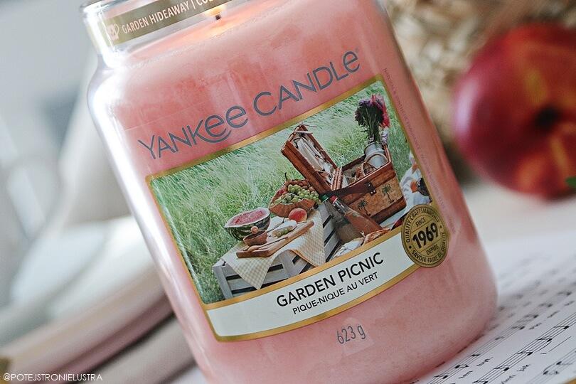 etykieta świecy yankee candle garden picnic widok z bliska