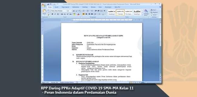 Contoh RPP Daring PPKn Adaptif COVID-19 SMA-MA Kelas 11 - Peran Indonesia dalam Perdamaian Dunia