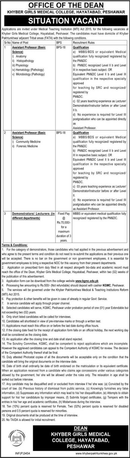MBBS Doctors Jobs in Pakistan Khyber Girls Medical College Peshawar Jobs 2016