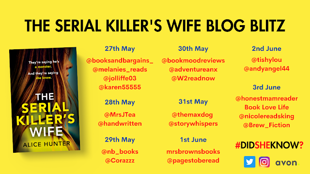 The Serial Killer's Wife by Alice Hunter blog tour banner