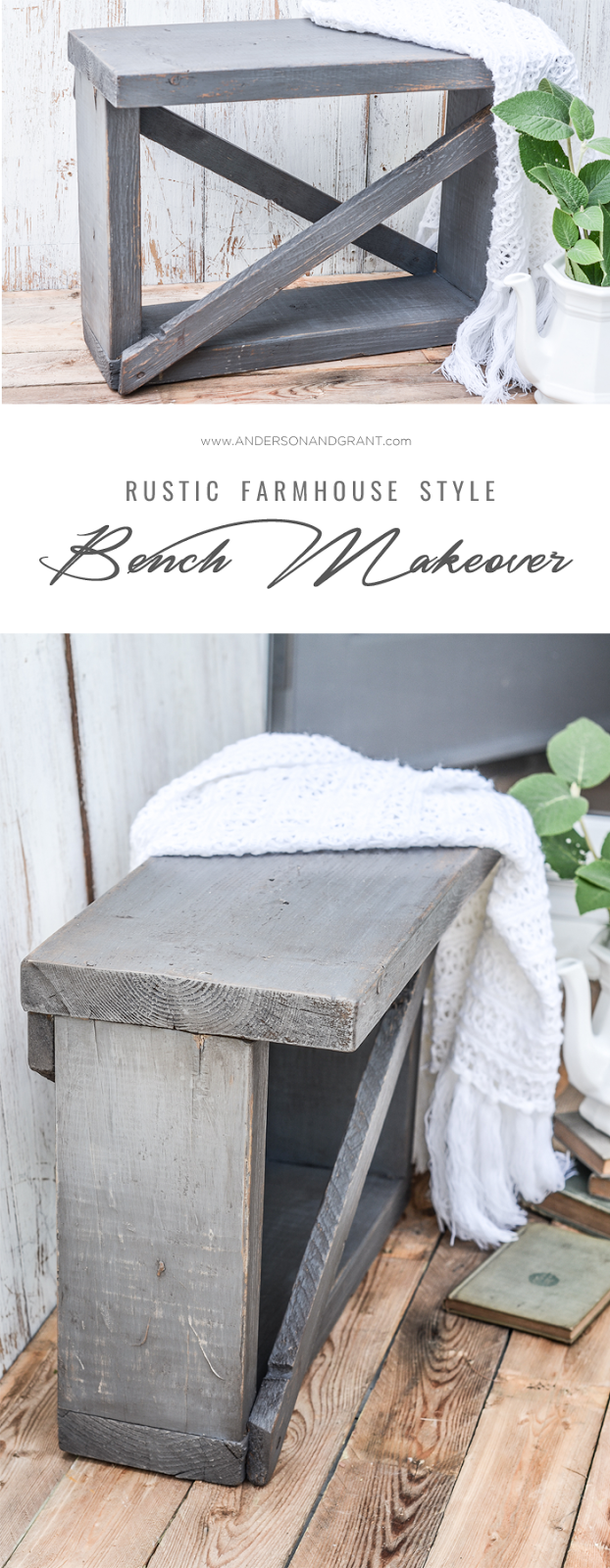 A basic scrap wood bench is given a farmhouse style makeover #DIY #DIYfurniture #paintedfurniture #farmhousemakeover