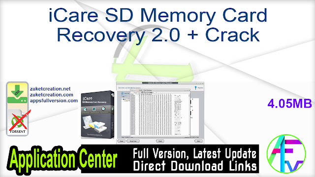 iCare SD Memory Card Recovery 2.0 + Crack