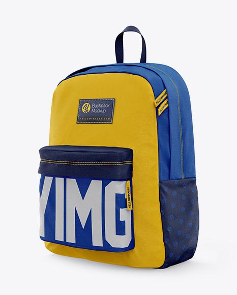 2 Model Design Backpack Mockup - Half-side View