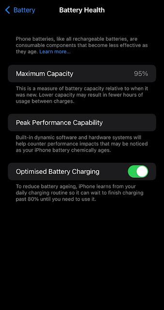 Check battery health percentage