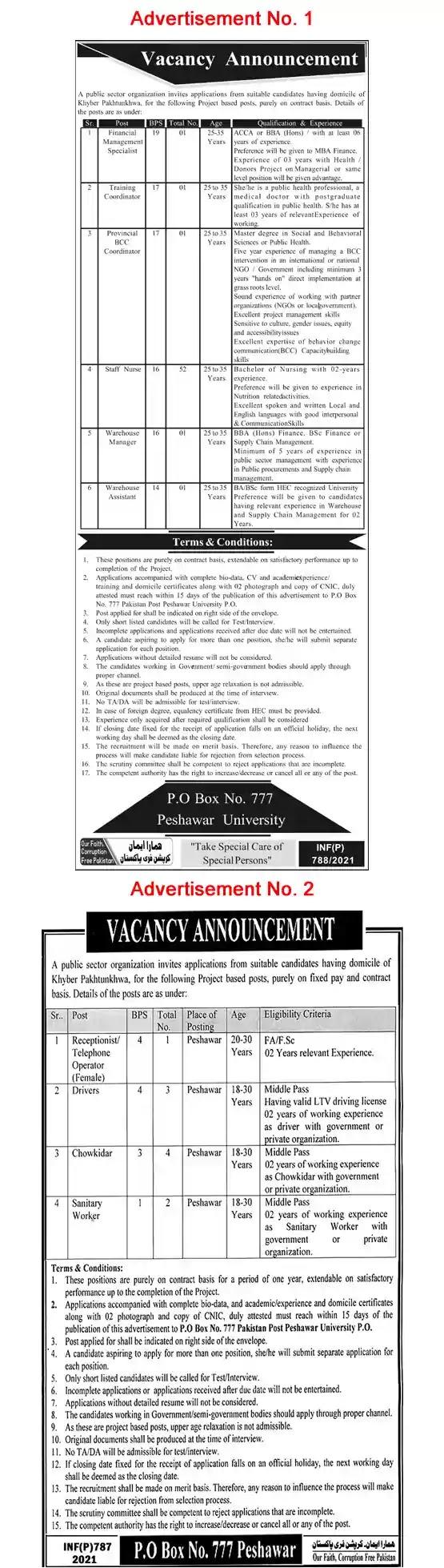 Latest Jobs in Pakistan in PO Box 777 Peshawar Jobs 2021