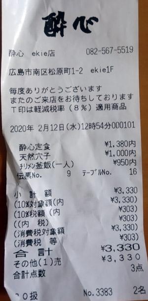 酔心 ekie広島店 2020/2/12 飲食のレシート