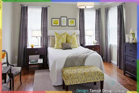 ارضية خشبية لغرفة نوم رمادي واصفر