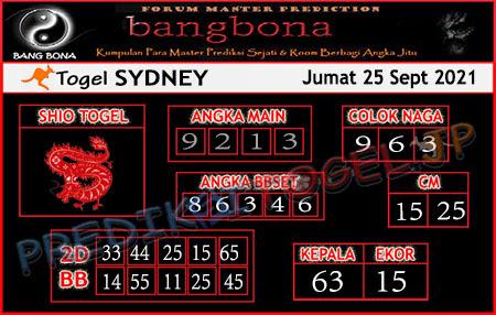 Prediksi Bangbona Sydney Sabtu 25 September 2021