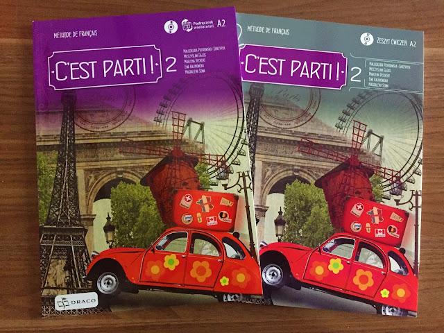 """Recenzje #157 - """"C'est parti ! 2"""" - okładka podręcznika oraz zeszytu ćwiczeń - Francuski przy kawie"""