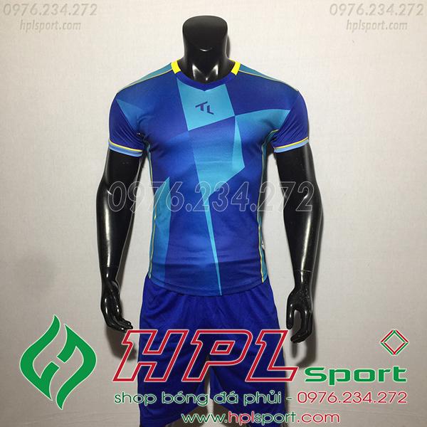 Áo bóng đá không logo TL TBA màu xanh đậm