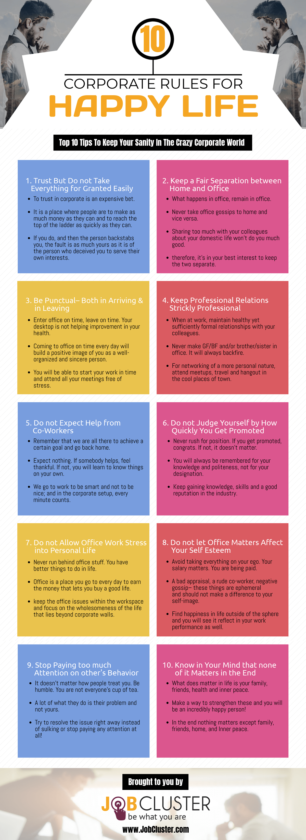 10 Corporate Rules for a Happy Life #infographic