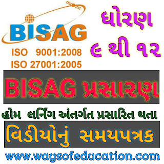 September Time Table of Home Learning Video Programs Broadcast on BISAG for Std. 9th to 12th Students