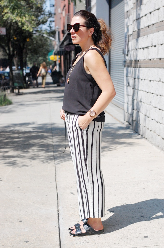 Zara striped culotte trousers and slouchy tank Vancouver fashion blogger