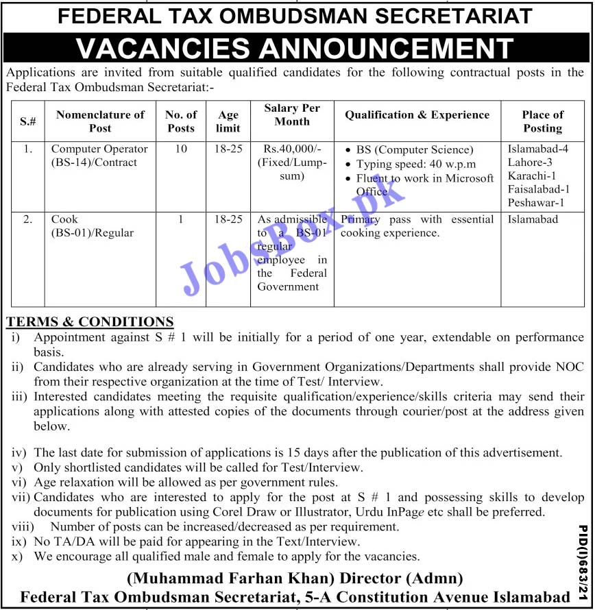 Federal Tax Ombudsman Secretariat Jobs 2021 Latest Recruitment