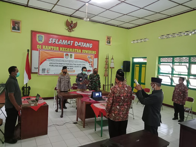 Danramil 21 Juwiring Hadiri Pelantikan Dan Pengambilan Sumpah Janji Anggota PPS