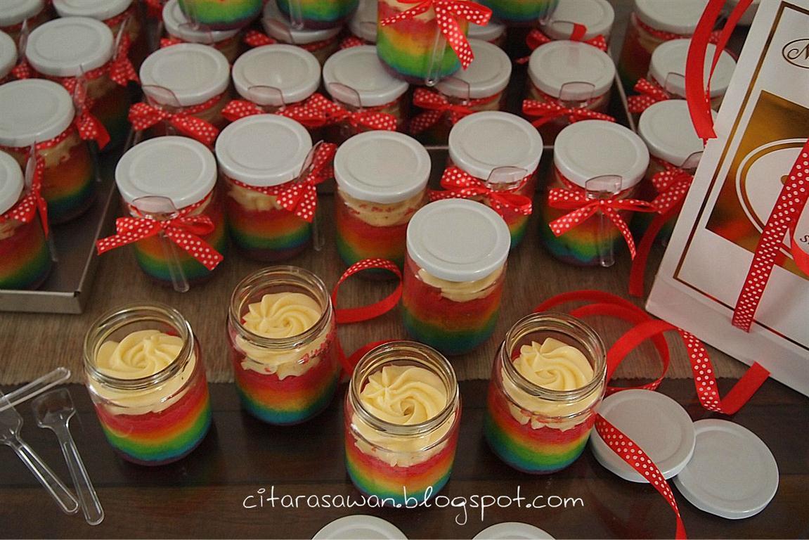 Resep Cake In Jar Rainbow: RAINBOW CAKE GULUNG