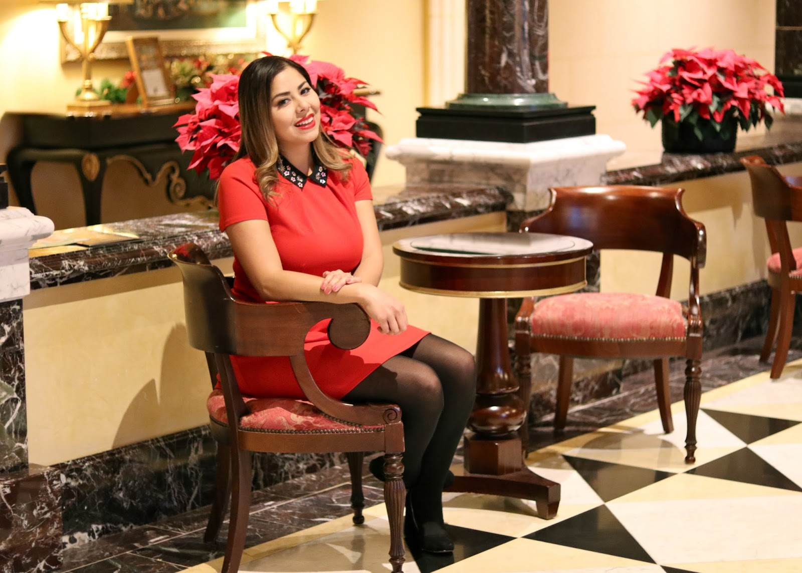 tea time at the fairmont del mar, san diego style blogger, red dress and red lipstick