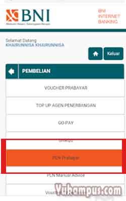 menu pln prabayar bni internet banking