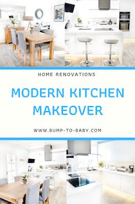 modern kitchen makeover, white kitchen, kitchen remodel, kitchen before and after, kitchen renovation,