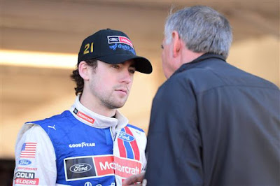 Driver Ryan Blaney Reacts in the Garage during NASCAR Testing