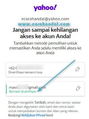 Cara Menambahkan Email Pemuihan Yahoo terbaru