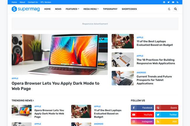 Template para Blogger SuperMag | Tema de blog responsivo para revista