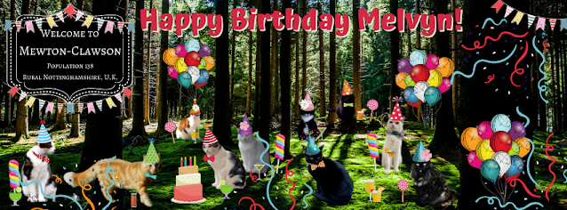 Happy Birthday with Mewton-Clawson Cats The B Team Pawty ©BionicBasil® Melvyn