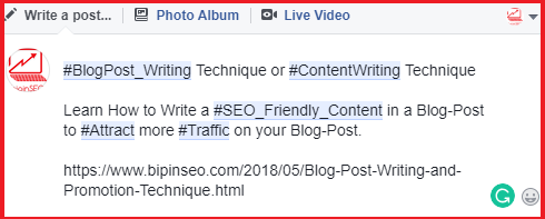 how to drive traffic to facebook using hashtag keyword on post description