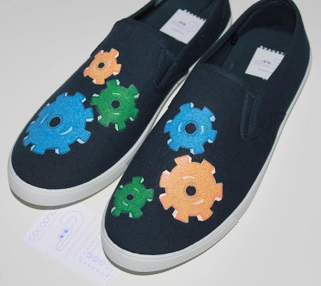 zapatillas pintadas engranajes chico