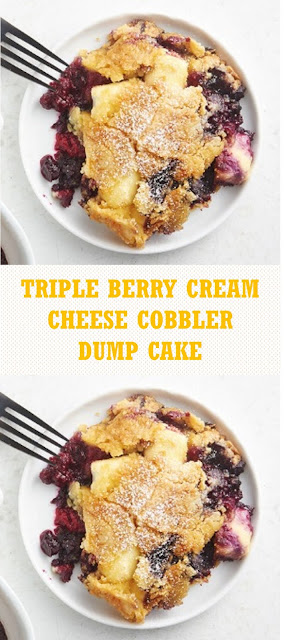 Triple Berry Cream Cheese Cobbler Dump Cake