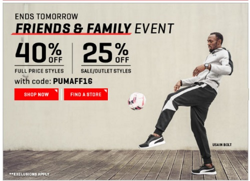 PUMA Friends & Family Event Promo Ocde