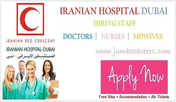 Nursing Assistant Jobs in Dubai Hospitals,  Doctors careers in Iranian Red Crescent Society