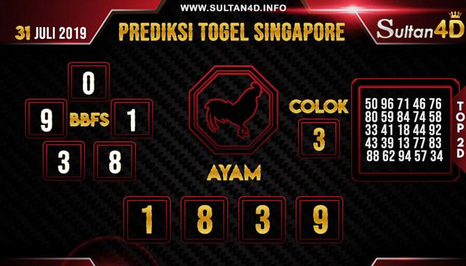 PREDIKSI TOGEL SINGAPORE SULTAN4D 31 JULI 2019