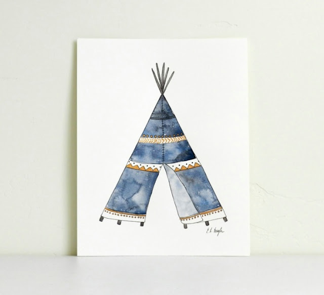 Blue and Gold Watercolor Teepee Painting by Elise Engh