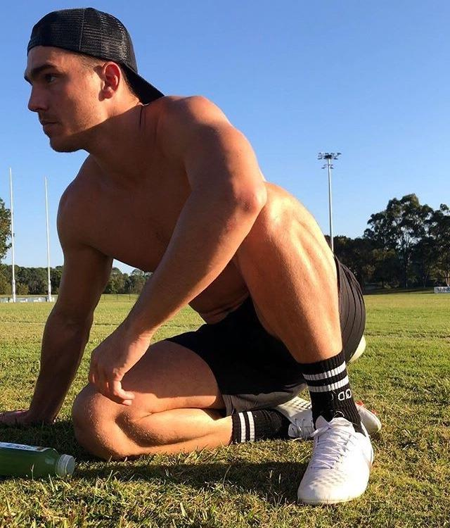 handsome-shirtless-muscle-baseball-hat-stranger-bro-outdoor-exercise-nature-afternoon-woods-hunk